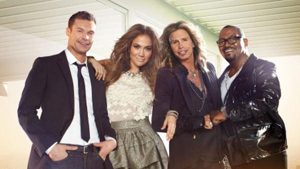 Ryan Seacrest, Jennifer Lopez, Steven Tyler and Randy Jackson appear in a promotional photo for American Idol. - Provided courtesy of Tony Duran / FOX