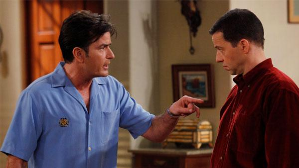 Charlie Sheen and Jon Cryer in an undated scene from Two and a Half Men. - Provided courtesy of CBS