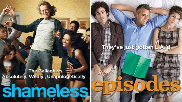 William H. Macy and Emmy Rossum in a promotional poster for the Showtime series Shameless./Tamsin Greid, Matt LeBlanc and Stephen Mangan in a promotional poster for Episodes. - Provided courtesy of Showtime