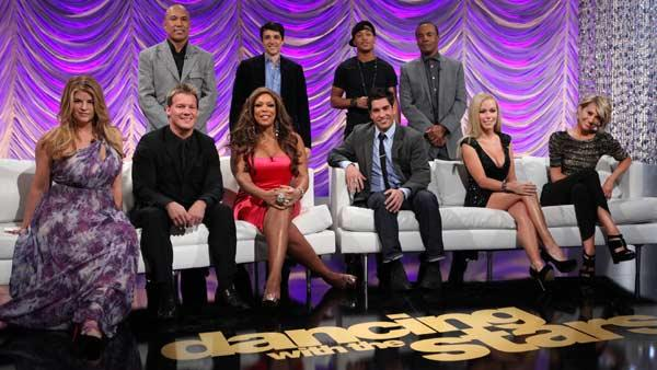 R to L: Kirstie Alley, Hines Ward, Chris Jericho, Wendy Williams, Ralph Macchio, Romeo, Psycho Mike Catherwood, Sugar Ray Leonard, Kendra Wilkinson and Chelsea Kane in a still from the Dancing With the Stars season 12 cast announcement. - Provided courtesy of ABC/Adam Larkey