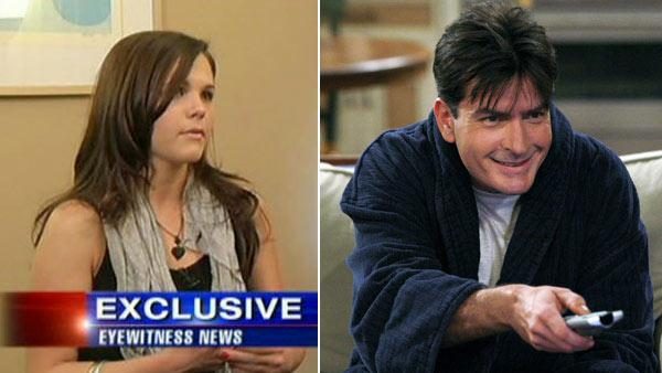 A former porn star speaks to WABC Television about what she says was a relationship with Charlie Sheen in a March 1, 2011 interview. / Charlie Sheen in a scene from Two and a Half Men. - Provided courtesy of WABC / CBS