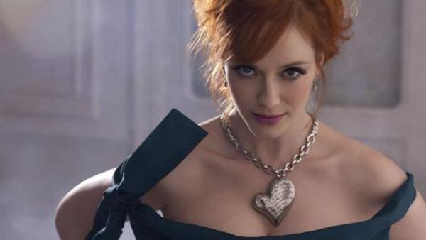 Actress Christina Hendricks models the Pagan Heart Necklace from the Vivienne Westwood Get a Life Palladium Jewelry Collection. - Provided courtesy of PRNewsFoto / Palladium Alliance International