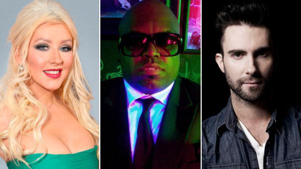 Christina Aguilera, Cee Lo Green and Adam Levine in promotional photos for The Voice. - Provided courtesy of NBC
