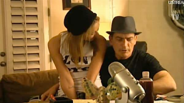 Charlie Sheen is seen here during a live stream he held on Saturday, March, 5, 2011. - Provided courtesy of OTRC
