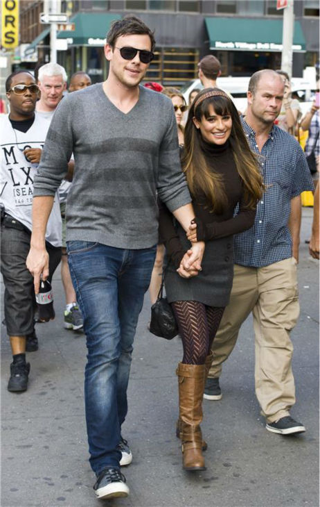 Lea Michele and Cory Monteith take a stroll in New York City near the set of FOX's 'Glee' on Aug. 12, 2012.