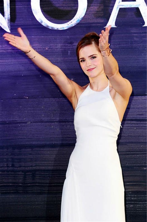 "<div class=""meta image-caption""><div class=""origin-logo origin-image ""><span></span></div><span class=""caption-text"">Emma Watson, wearing a one-of-a-kind, flowing, white Ralph Lauren collection halter gown, appears at the 'Noah' London premiere on March 31, 2014. She plays Ila, wife of Noah's son Shem, in the film. (Ian West / ABACA / Startraksphoto.com)</span></div>"