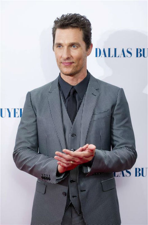 Matthew McConaughey appears at the premiere of 'Dallas Buyers Club' in London on Jan. 39, 2014. He is nominated for his first Oscar for his roles as an HIV-positive patient.