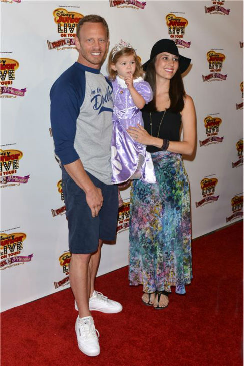 'Beverly Hills, 90210' and 'Sharknado' star Ian Ziering, wife Erin Kristine Ludwig and daughter Mia Loren Ziering attend the premiere of the Disney Junior Live On Tour! Pirate and Princess Adventure event in Hollywood, California on Sept. 29, 2013.