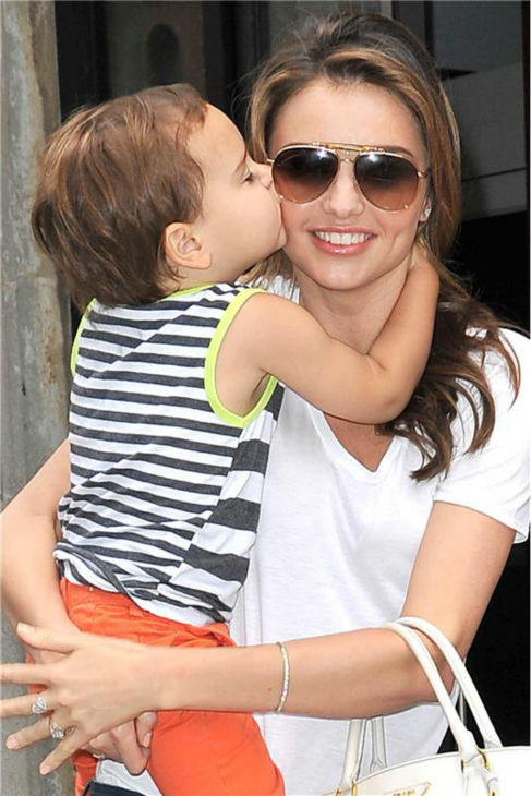 Miranda Kerr and her and Orlando Bloom's son Flynn are seen in New York on July 31, 2013.