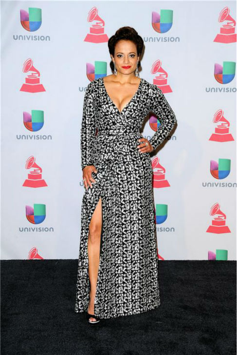 Judy Reyes arrives at the 2013 Latin Grammy Awards at the Mandalay Bay Hotel and Casino in Las Vegas on Nov. 21, 2013.