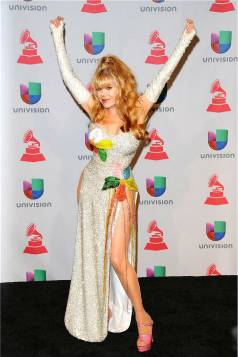 Charo arrives at the 2013 Latin Grammy Awards at the Mandalay Bay Hotel and Casino in Las Vegas on Nov. 21, 2013.to.com