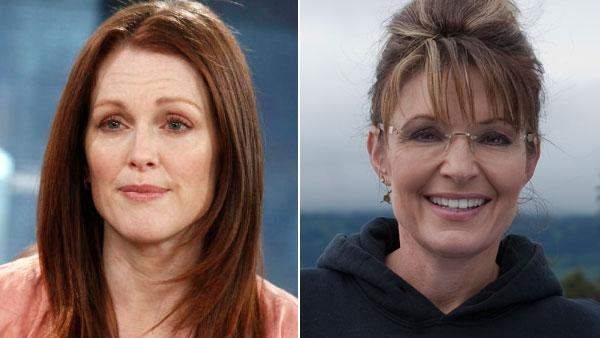 Julianne Moore during an interview on the Today Show and Sarah Palin in a promotional still for Sarah Palins Alaska. - Provided courtesy of NBC / Discovery