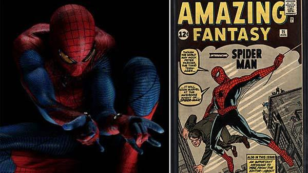 Andrew Garfield appears as Spider-Man in a photo released by Columbia Pictures on Jan. 13, 2011. / Cover of comic book Amazing Fantasy No. 15, which features debut of Spider-Man. - Provided courtesy of Columbia Pictures / Marvel