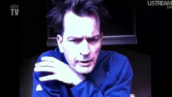 Charlie Sheen appears in a still from his live webstream, Sheens Korner. - Provided courtesy of OTRC / UStream
