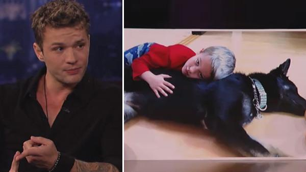 Ryan Phillippe appears on ABC talk show Jimmy Kimmel Live! on Monday, March 14, 2011. / A photo of Ryan Phillippes son Deacon and the familys new dog appears in a photo shown on Jimmy Kimmel Live! on March 14, 2011. - Provided courtesy of ABC