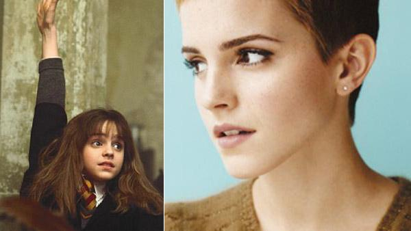 Emma Watson as Hermione Granger in 'Harry Potter and the Sorceror's Stone' in 2001. / Emma Watson appears in a promotional photo posted on her Twitter page in 2011.