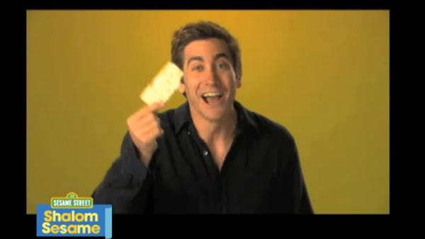 Jake Gyllenhaal appears in a Passover video for Sesame Streets Shalom Sesame series in March 2011. - Provided courtesy of Sesame Workshop / youtube.com/user/shalomsesame