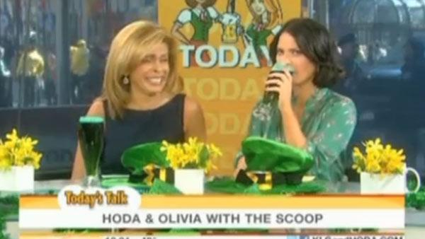 Hoda Kotb and Olivia Munn appear in a still from the Today show, which aired on March 17, 2011. - Provided courtesy of OTRC / NBC
