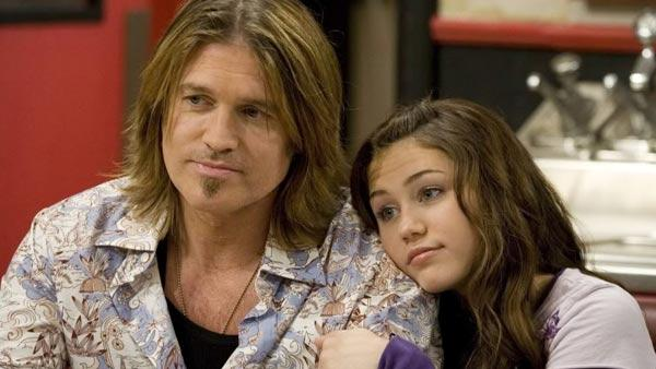 Billy Ray and Miley Cyrus appear in a still from a 2006 episode of Hannah Montana. - Provided courtesy of OTRC / Disney