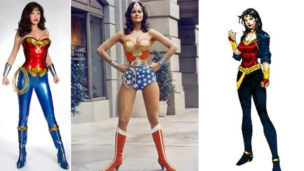 Adrianne Palicki appears as Wonder Woman for the 2011 NBC pilot. / Lynda Carter appears as Wonder Woman / Wonder Woman dons a more conservative costume in DC Comics 600th issue - Provided courtesy of Justin Lubin / NBC / CBS / DC Comics