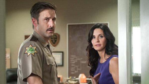 David Arquette and Courteney Cox appear in a still from Scream 4. - Provided courtesy of OTRC / The Weinstein Co.