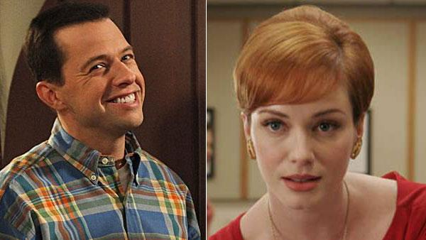 Jon Cryer appears in a scene from Two and a Half Men. / Mad Mens Christina Hendricks appears in a scene from the AMC series. - Provided courtesy of CBS / AMC