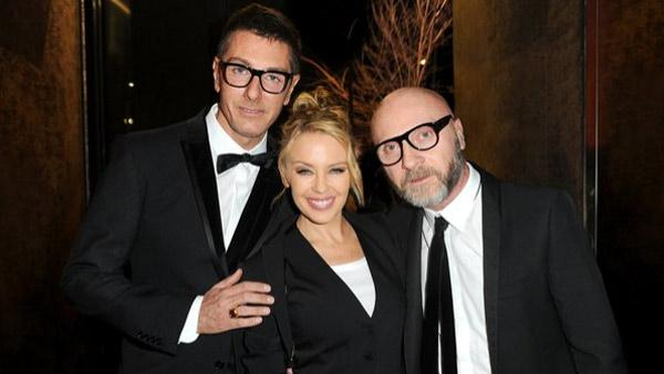 Domenico Dolce and Stefano Gabbana pose with singer Kylie Minogue in Milan, Italy. - Provided courtesy of www.facebook.com/DolceGabbana
