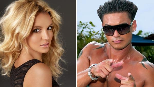 Britney Spears appears in an undated photo from her official website, Britney.com./Pauly D appears in a promotional photo for Jersey Shore. - Provided courtesy of Britney.com/MTV/Emily Shur