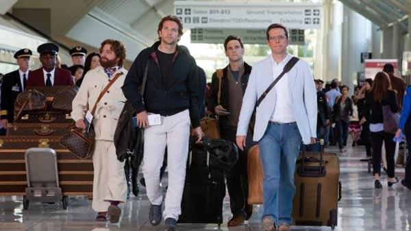 Zach Galifianakis, Bradley Cooper, Justin Bartha and Ed Helms appear in a still from The Hangover Part II. - Provided courtesy of Warner Bros. Entertainment