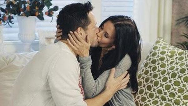 Josh Hopkins and Courteney Coz appear in a still from Cougar Town. - Provided courtesy of ABC/Mitch Haddad