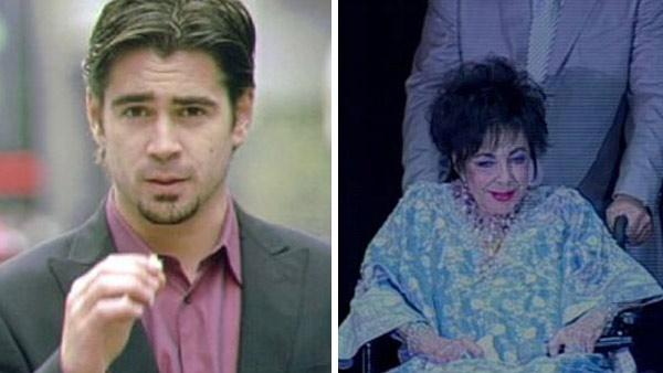 Colin Farrell in a scene from Phonebooth. / Elizabeth Taylor appears in a wheelchair before undergoing heart surgery in 2009. - Provided courtesy of Twentieth Century Fox / KABC