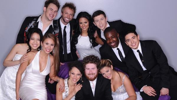 Final 10 plus one clockwise from top left: James Durbin, Paul McDonald, Pia Toscano, Scotty McCreery, Jacob Lusk, Stefano Langone, Lauren Alaina, Casey Abrams, Naima Adedapo, Haley Reinhart and Thia Megia. - Provided courtesy of FOX/Michael Becker