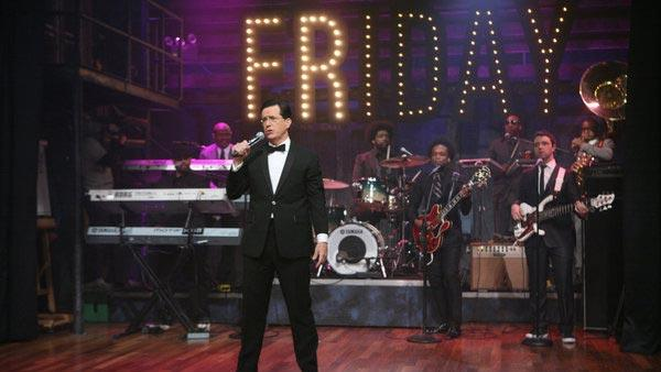 Stephen Colbert appears on the April 1, 2011 show of Late Night with Jimmy Fallon to perfom Friday. - Provided courtesy of NBC