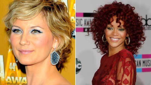 Left: Jennifer Nettles arrives at The 44th Annual CMA Awards on November 10, 2010. Right: Rihanna arrives at the 2010 American Music Awards on November 21, 2010. - Provided courtesy of ABC / ANDREW WALKER/TIM OGIER