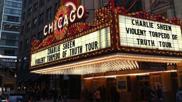 Charlie Sheen takes a photo of the Chicago marquee for his tour on April 3, 2011. - Provided courtesy of Twitter.com/charliesheen