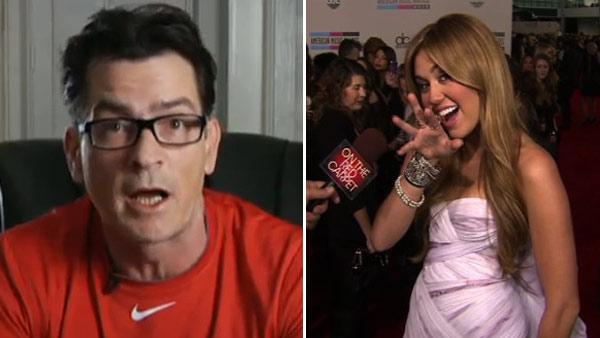 Pictured: Charlie Sheen during Sheens Corner Episode 4, Building the Perfect Torpedo, the actors fourth uStream webcast posted on Monday, March 8, 2011. / Miley Cyrus talks to OnTheRedCarpet.com at the American Music Awards in November 2010. - Provided courtesy of youtube.com/user/TheWYTV / OTRC