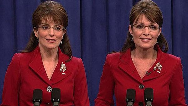 Tina Fey appears as Sarah Palin and the real Sarah Palin appear on Saturday Night Live in 2008. - Provided courtesy of NBC