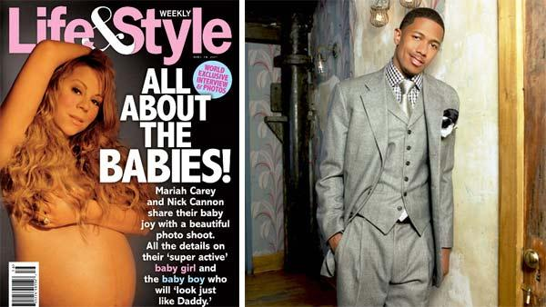 Mariah Carey appears on the cover of Life and Style magazine in April 2011, prior to the birth of her twins. / Nick Cannon appears in a photo posted on his website. - Provided courtesy of Life and Style magazine / nickcannon.com
