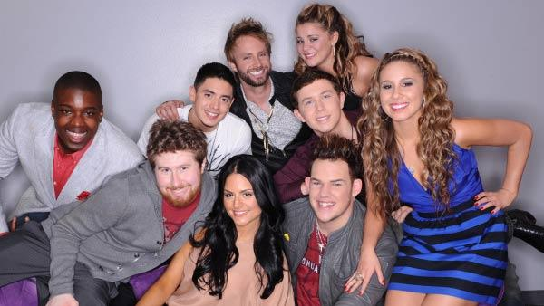 The Final 9: Clockwise from botom right: Haley Reinhart, James Durbin, Pia Toscano, Casey Abrams, Jacob Lusk, Stefano Langone, Paul McDonald, Lauren Alaina and Scotty McCreery. - Provided courtesy of FOX/Michael Becker