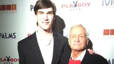 Hugh Hefner and his son Marston appear in at their joint birthday bash at the Palms Hotel and Casino in Las Vegas on April 9, 2011. - Provided courtesy of twitter.com/hughhefner / yfrog.com/h32k7dqj