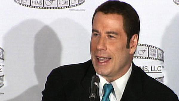 John Travolta speaks to reporters in New York about the movie Gotti: Three Generations on Tuesday, April 12, 2011. - Provided courtesy of OTRC