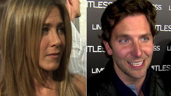 Jennifer Aniston talks to OnTheRedCarpet.com about The Switch in August 2010. / Bradley Cooper talks to OnTheRedCarpet.com at the premiere of Limitless on March 3, 2011. - Provided courtesy of KABC