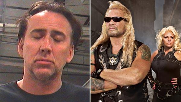 Nicolas Cage appears in a mugshot provided by Orleans Parish Sheriffs Office./Duane and Beth Chapman appear in a promotional photo for Dog the Bounty Hunter. - Provided courtesy of Orleans Parish Sheriffs Office/A and E
