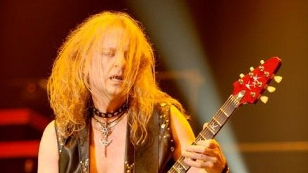K.K. Downing performs with Judas Priest on Feb. 21, 2009. The heavy metal group said on April 20, 2011 that he had left the band. - Provided courtesy of JudasPriest.com