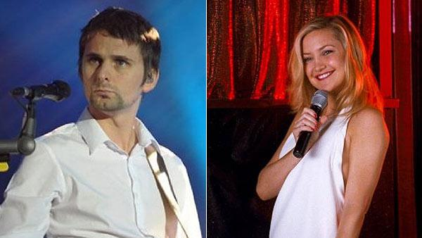 Matthew Bellamy appears on stage with Muse in New York in 2009. / Kate Hudson appears in a scene from the 2011 movie Something Borrowed. - Provided courtesy of facebook.com/muse / Warner Bros. Pictures / Alcon Film Fund
