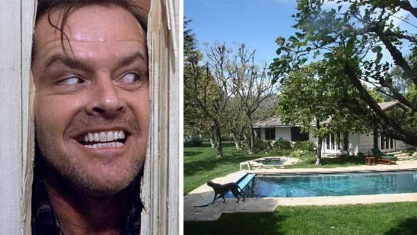Jack Nicholson appears in a scene from the 1980 movie The Shining. / A photo of Jack Nicholsons Malibu home. - Provided courtesy of Warner Bros. Pictures / MLS