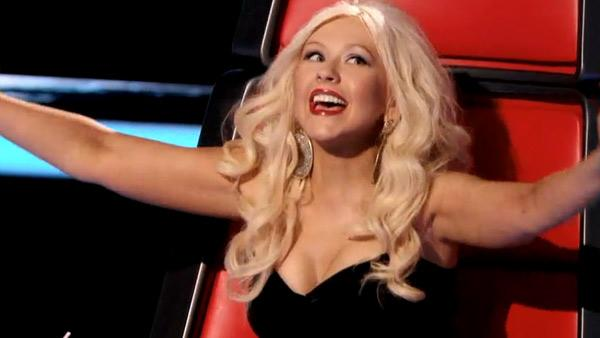 Christina Aguilera reacts to a contestant with excitement on the series premiere of NBCs The Voice, which aired on April 26, 2011. - Provided courtesy of NBC