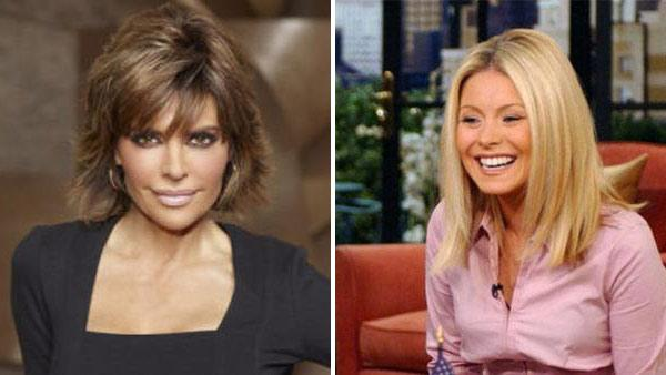 Lisa Rinna appears in a promotional photo for The Celebrity Apprentice in 2011. / Kelly Ripa appears in a still from LIVE! With Regis and Kelly. - Provided courtesy of NBC / ABC