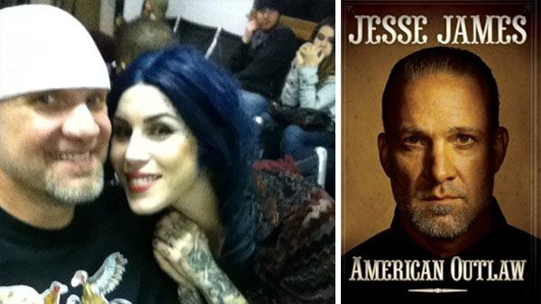 Jesse James and Kat Von D appear in a photo posted on his Twitter page on May 3, 2011. /  The cover of Jesse James book American Outlaw, published in 2011. - Provided courtesy of OTRC / Gallery Publishing / twitpic.com/4sms8w
