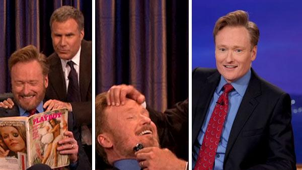Conan OBrien appears with Will Ferrell, who shaves some of his beard off on TBS talk show Conan on May 2, 2011. / Conan OBrien appears on the show minutes later without a beard. - Provided courtesy of OTRC / TBS / Meghan Sinclair / Team Coco / teamcoco.com